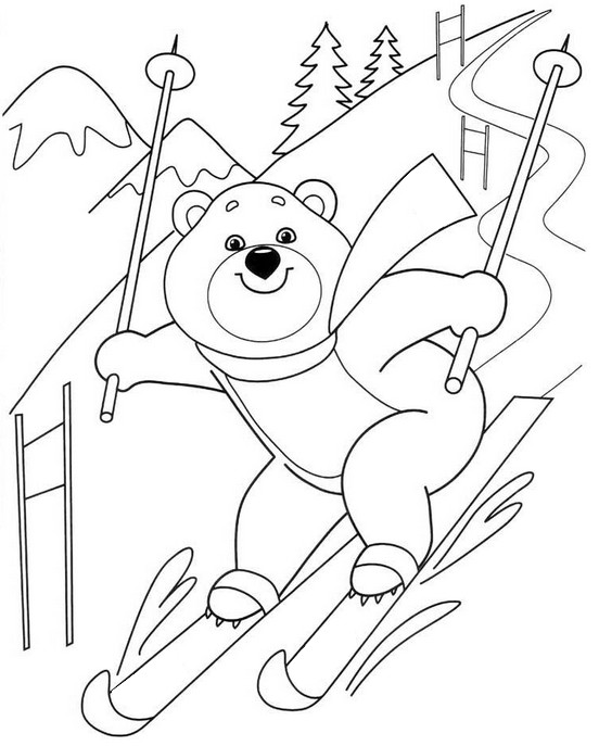 cartoon page winter sports coloring pages. Black Bedroom Furniture Sets. Home Design Ideas
