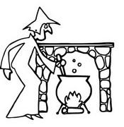 ぬりえ 魔女と彼女の大釜