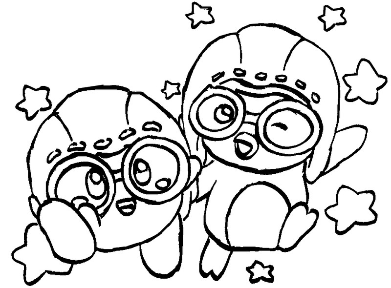 Dibujo para colorear pororo pororo y kirby 3 for Pororo coloring pages