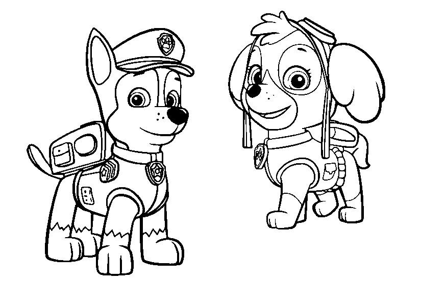 Картинки щенячий патруль для срисовки